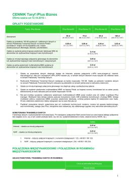 Cennik Taryf iPlus Biznes