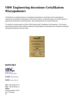 VBW Engineering docenione Certyfikatem