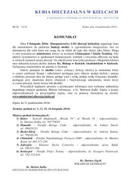 Komunikat Kurii Diecezjalnej - Wiadomości z naszej Diecezji