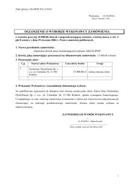 Ogłoszenie o wyborze wykonawcy zamówienia