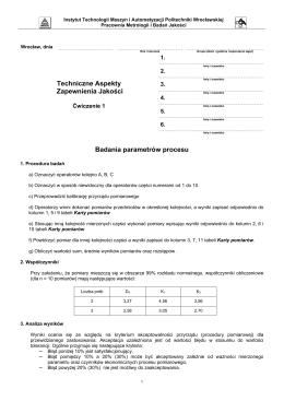 Techniczne Aspekty Zapewnienia Jakości Badania parametrów
