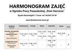 harmonogram zajęć - Dom Harcerza
