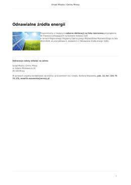 Odnawialne źródła energii - Urząd Miasta i Gminy Mrozy