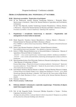 Program Konferencji - Muzeum Narodowe Rolnictwa i Przemysłu