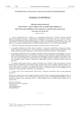 Zgłoszenie zamiaru koncentracji (Sprawa M.8219 – Clayton