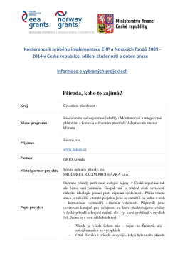 Informace k projektům / CZ - Fondy EHP | CZ06 – Kulturní dědictví a