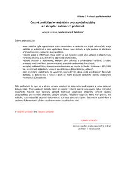 Příloha č. 7_ČP-nezávislé zpracování nabídky a akceptace ZP