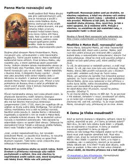 Panna Maria rozvazující uzly K čemu je třeba moudrosti?