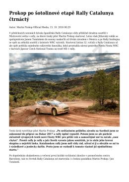Prokop po šotolinové etapě Rally Catalunya čtrnáctý