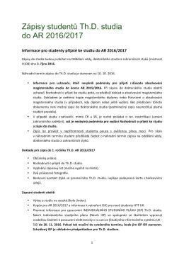 Zápisy studentů Th.D. studia do AR 2016/2017