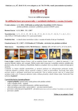 Kvalifikační kurz pro pracovníky v sociálních službách