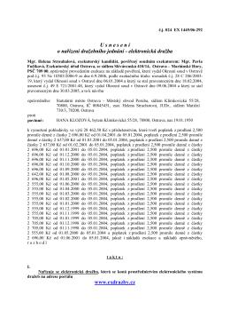 Usnesení o nařízení dalšího dražebního jednání (elektroinické dražby)