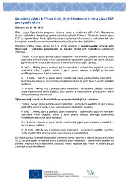 Metodický výklad k Příloze č. 02_16_015 Hodnotící kritéria výzvy