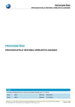 provozní řád - Věstník veřejných zakázek