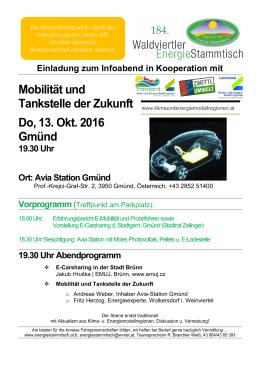 Mobilität und Tankstelle der Zukunft Do, 13. Okt. 2016