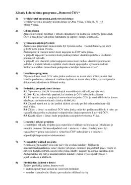 Zásady k dotačnímu programu ČOV