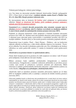 Rozpis promocí absolventů FPE