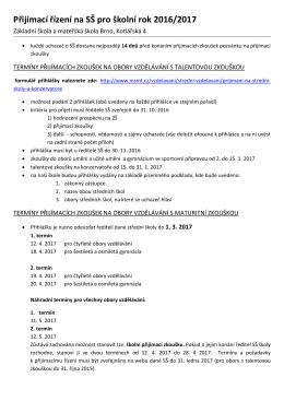 Přijímací řízení na SŠ pro školní rok 2016/2017