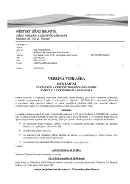 MěÚ Bruntál, odbor výstavby a územního plánování, Oznámení