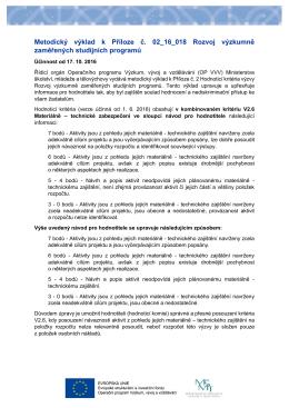 Metodický výklad k Příloze č. 02_16_018 Rozvoj výzkumně