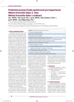 Měření krevního tlaku 2. část - Česká společnost pro hypertenzi