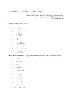 """Matematika I – ZS 2016/2017 – Domácí úkol č. 1 """"Kdo nedbá, aby"""