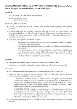 ORGANIZAČNÍ INFORMACE A PRAVIDLA KURZU B01426