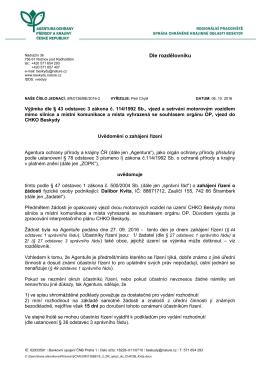 Zahájení řízení SR/0136/BE/2016 Výjimka, vjezd do