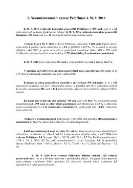 I. Nezaměstnanost v okrese Pelhřimov k 30. 9. 2016
