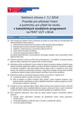 Pravidla pro přijetí ke studiu v bakalářském studijním programu