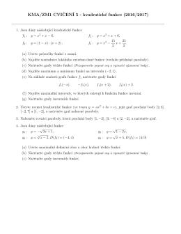 KMA/ZM1 CVIˇCENÍ 5 - kvadratické funkce (2016/2017)