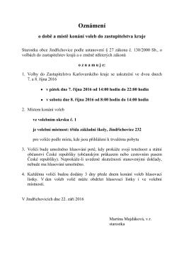 Oznámení - Obec Jindřichovice