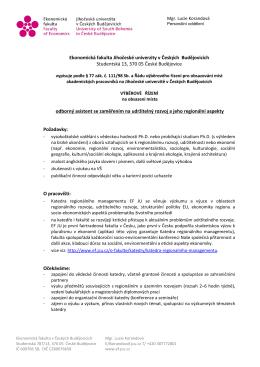 Výběrové řízení na obsazení místa odborného asistenta se