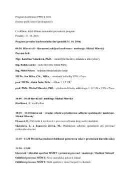 Program konference PPRCh 2016 (řazeno podle časové