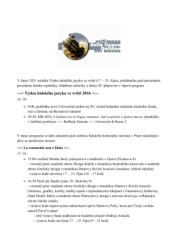 CZ Opava Programma settimana lingua italiana