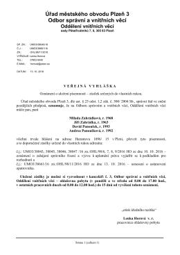 Úřad městského obvodu Plzeň 3 Odbor správní a vnitřních věcí