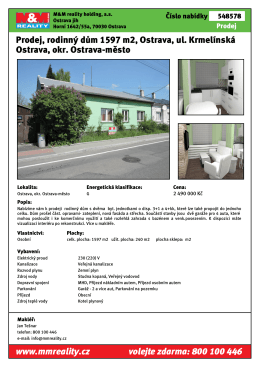 Prodej, rodinný dům 1597 m2, Ostrava, ul. Krmelínská Ostrava, okr
