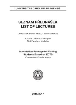 seznam přednášek list of lectures