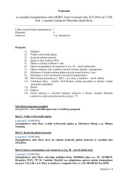 Usnesení ze zasedání Zastupitelstva obce HORY, které se konalo