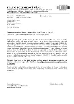 Komplexní pozemkové úpravy v k.ú. Tupesy na Moravě