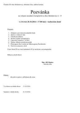 Pozvánka - Bohuňovice