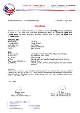 Pozvánka - Český svaz ledního hokeje