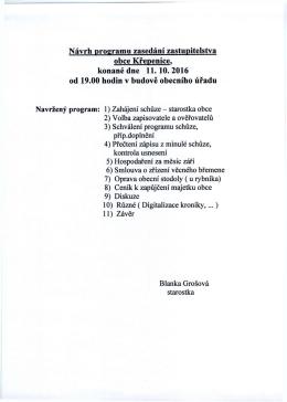 Program jednání zastupitelstva obce