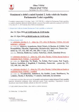 Druhé kolo voleb do 1/3 Senátu Parlamentu České republiky