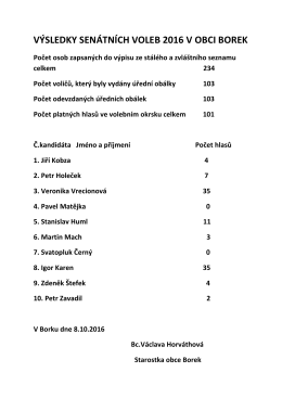 výsledky senátních voleb 2016 v obci borek