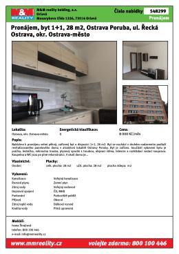 Pronájem, byt 1+1, 28 m2, Ostrava Poruba, ul. Řecká Ostrava, okr