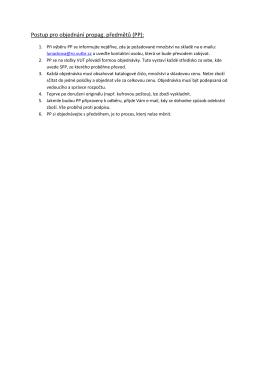 Postup pro objednání propag. předmětů (PP):