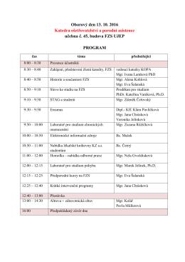 Program Oborového dne 2016 - FZS