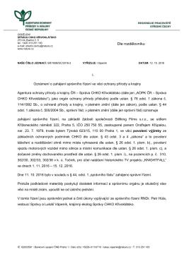 Oznámení o zahájení řízení SR/1698/SC/2016 výjimky