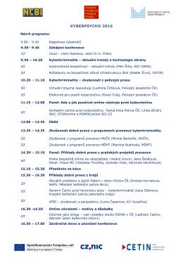 Program konference KYBERPSYCHO 2016